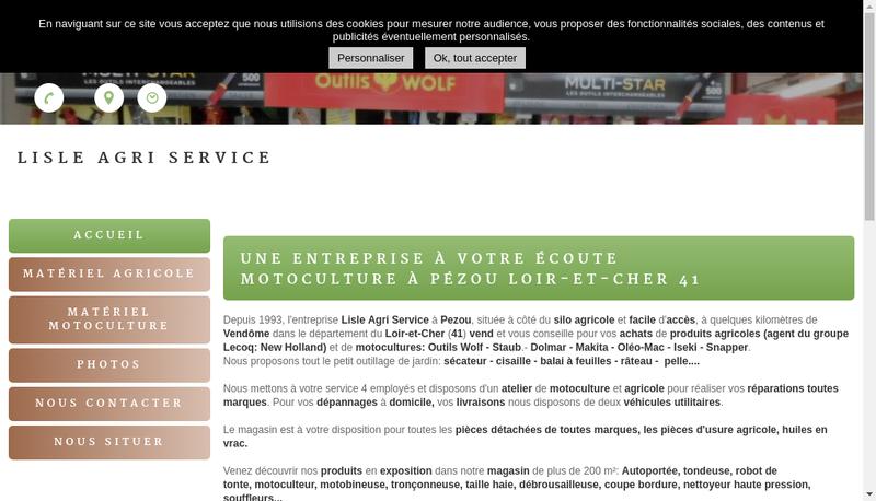 Capture d'écran du site de Lisle Agri Service
