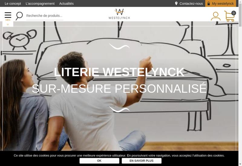 Capture d'écran du site de Literie Westelynck