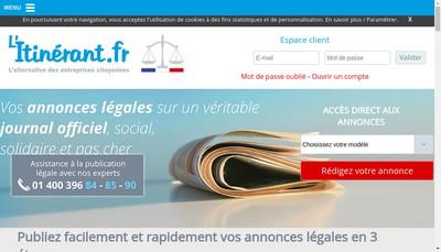 Site internet de L'Itinérant