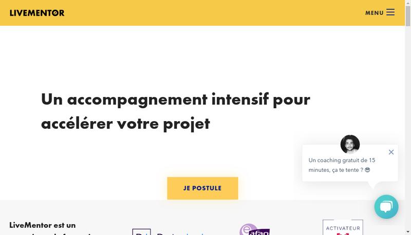 Capture d'écran du site de Livementor
