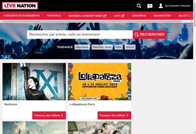 Site internet de Live Nation France 2006