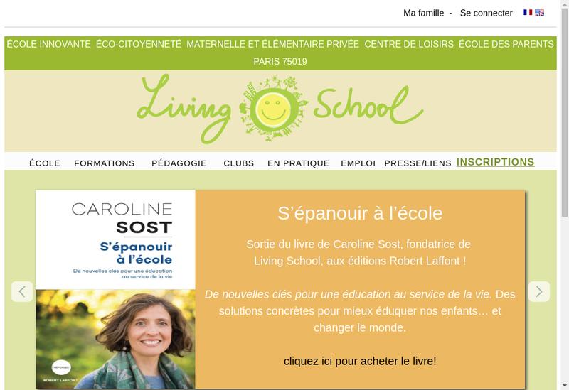 Capture d'écran du site de Living School