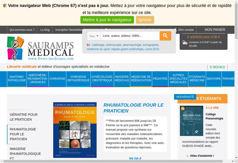 Capture d'écran du site de Sauramps