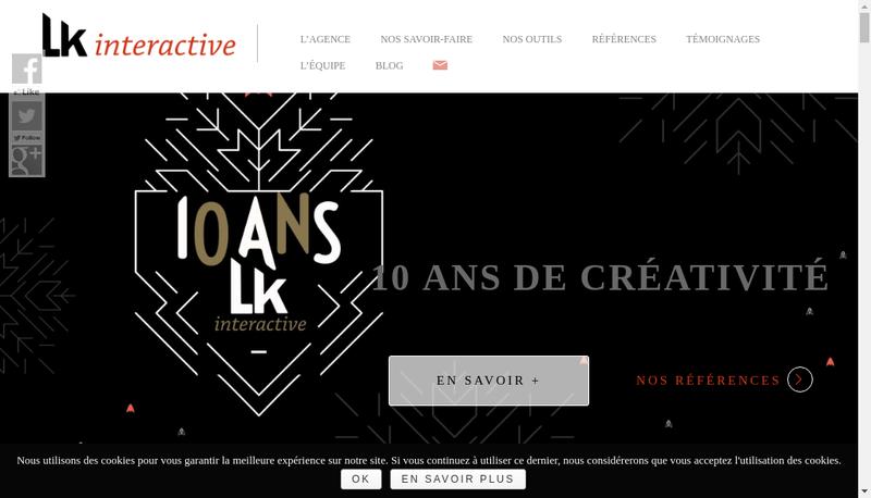 Capture d'écran du site de Lk Interactive