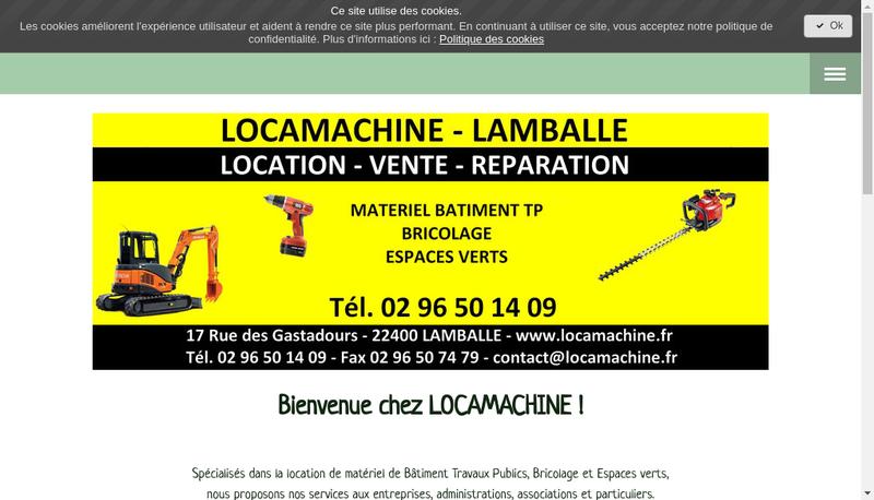 Capture d'écran du site de Locamachine
