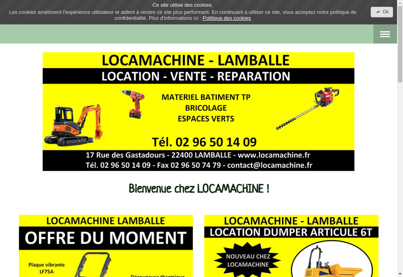 Capture d'écran du site de Locamachine