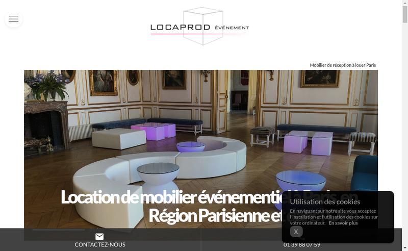 Capture d'écran du site de Locaprod Evenement