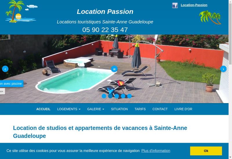 Capture d'écran du site de Location Passion