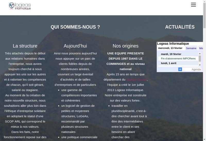 Capture d'écran du site de Logeas Informatique