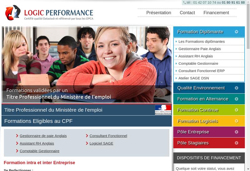 Capture d'écran du site de Logic Performance