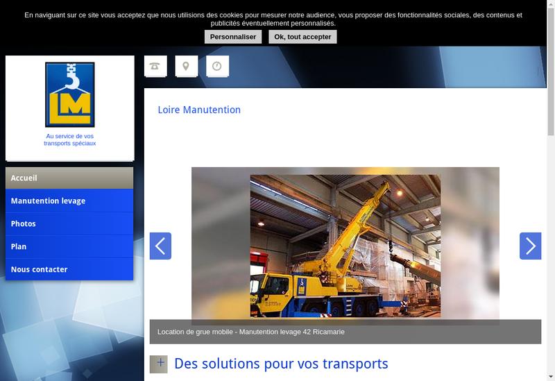 Capture d'écran du site de Loire Manutention