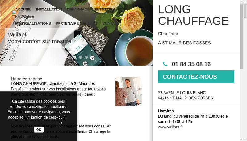 Capture d'écran du site de Long Chauffage