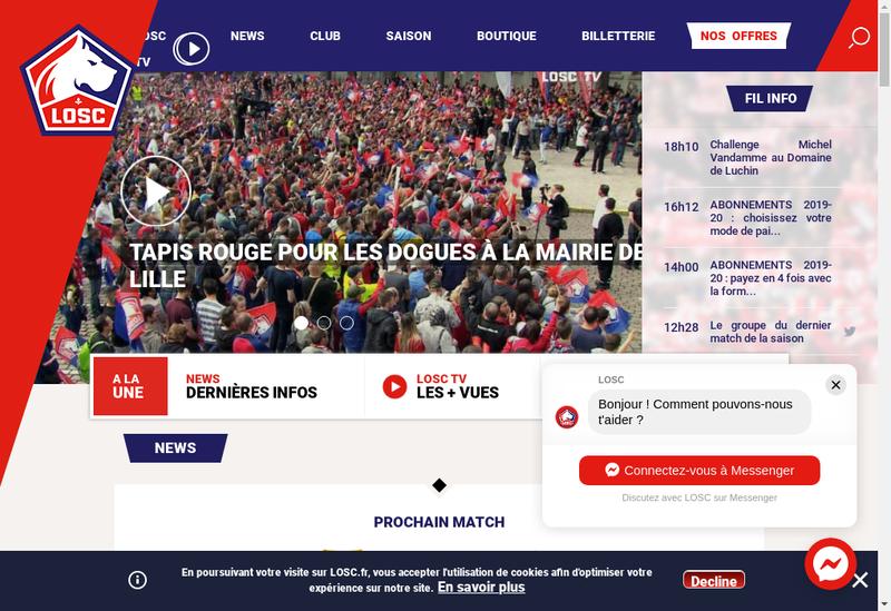 Capture d'écran du site de Sasp Losc Lille Metropole