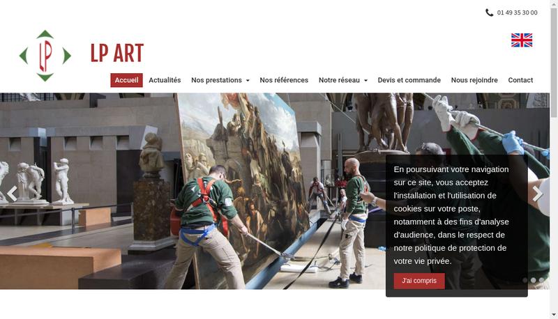 Capture d'écran du site de Lp Art