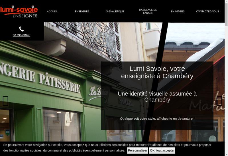Capture d'écran du site de Lumi Savoie