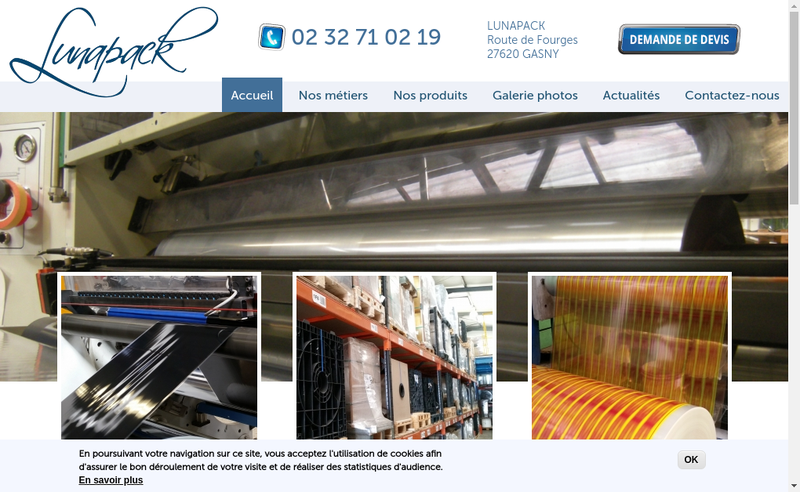 Capture d'écran du site de Lunapack