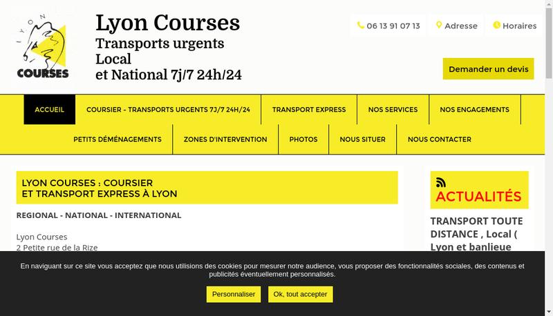 Capture d'écran du site de Lyon Courses