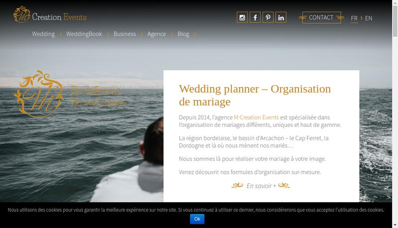 Capture d'écran du site de M Creation Events