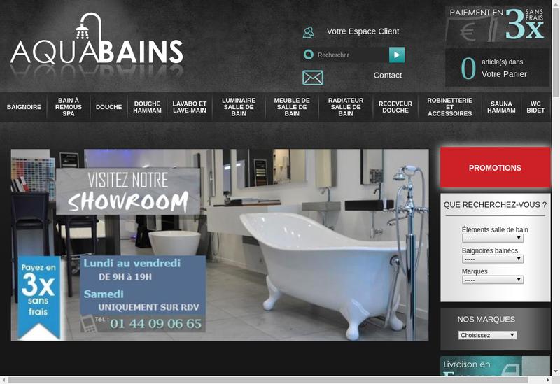Capture d'écran du site de Aquatherme Aquabains Eaux et Bains