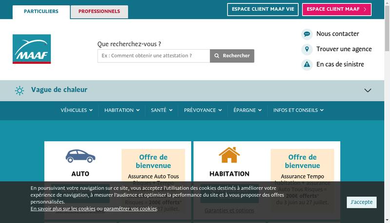 Capture d'écran du site de Maaf Assurances SA