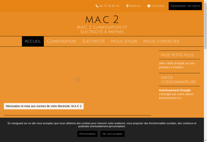Capture d'écran du site de MAC2
