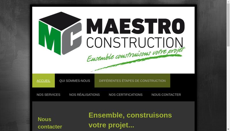 Capture d'écran du site de Maestro Construction