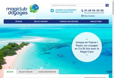 Site internet de Magiclub Voyages