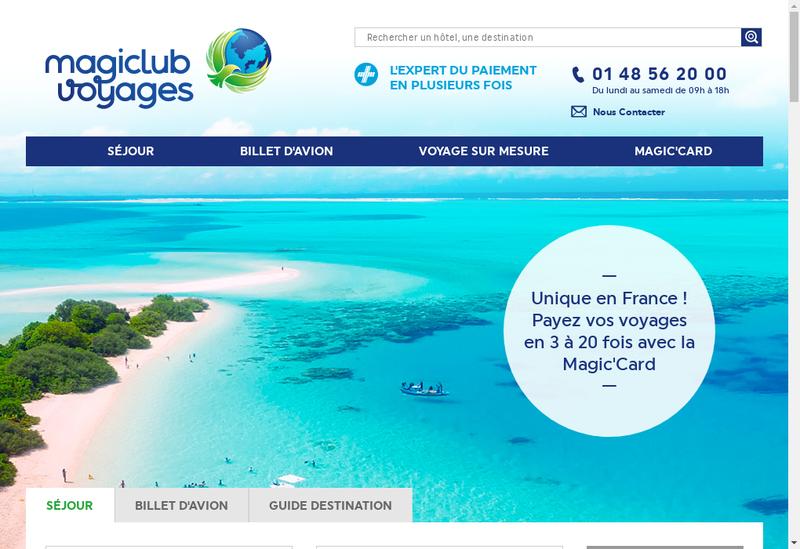 Capture d'écran du site de Magiclub Voyages