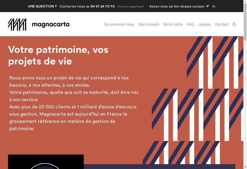 Capture d'écran du site de Magnacarta