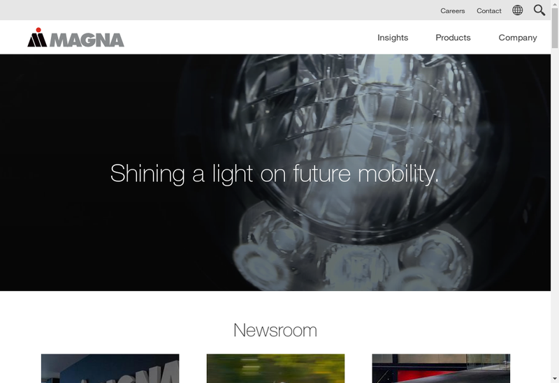 Capture d'écran du site de Magna International France