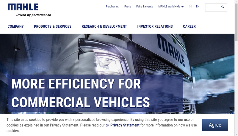 Capture d'écran du site de Mahle France SAS