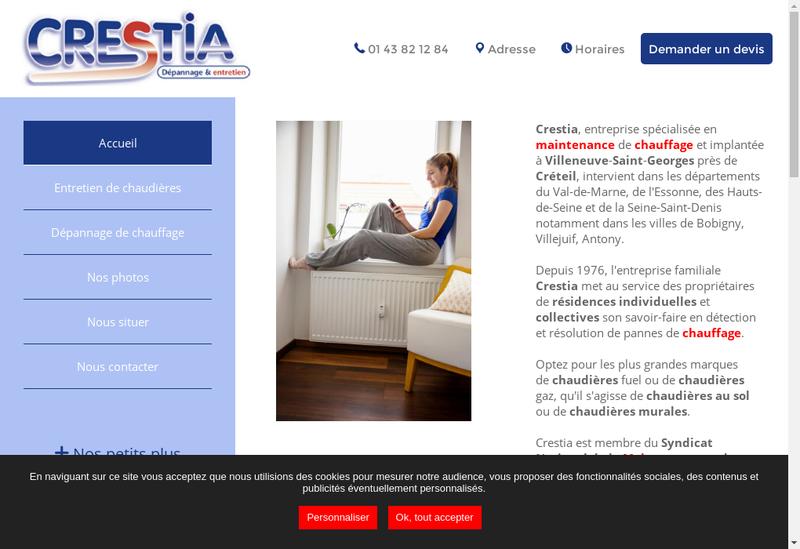 Capture d'écran du site de Crestia