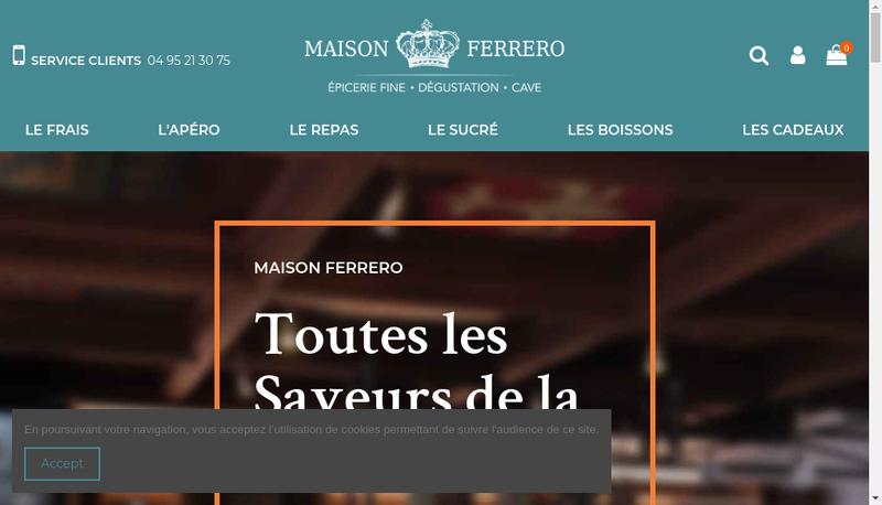 Capture d'écran du site de Maison Ferrero