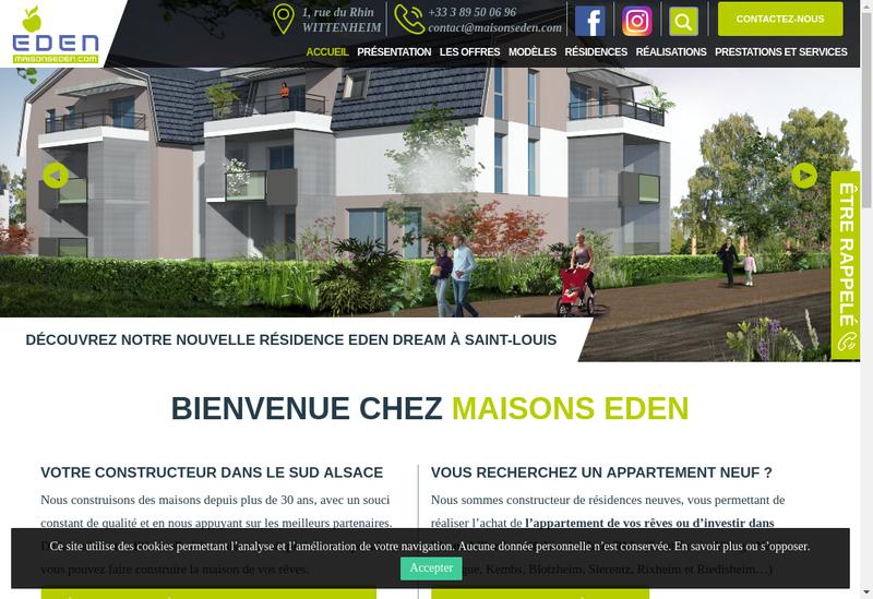 Capture d'écran du site de Maisons Eden