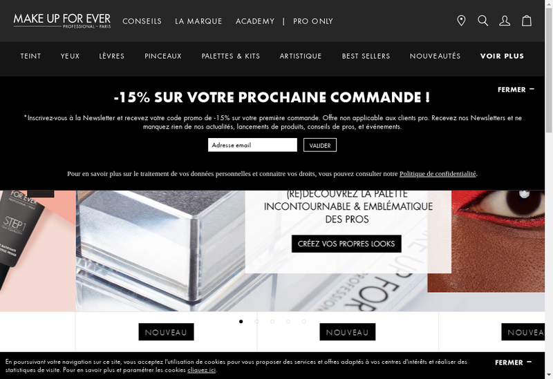 Capture d'écran du site de Make Up For Ever Academy