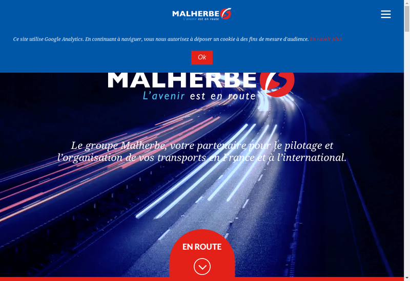 Capture d'écran du site de SAS Malherbe Transports
