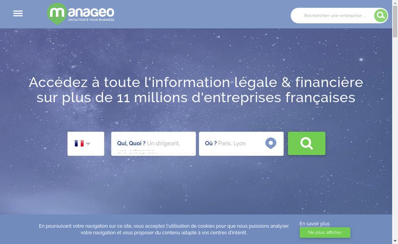 Capture d'écran du site de Manageo