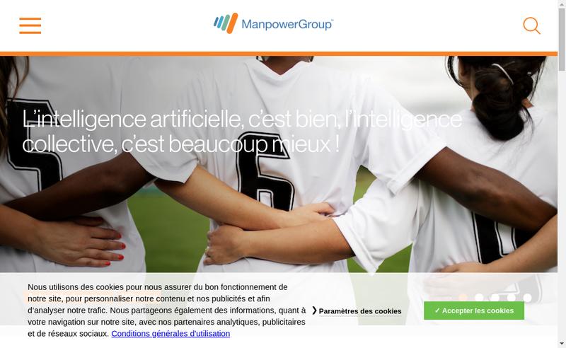 Capture d'écran du site de Manpowergroup Solutions