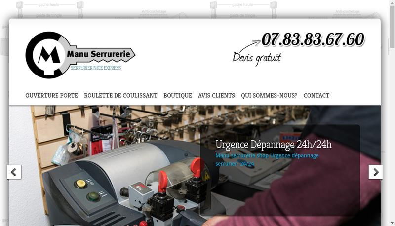 Capture d'écran du site de Manu Serrurerie Shop