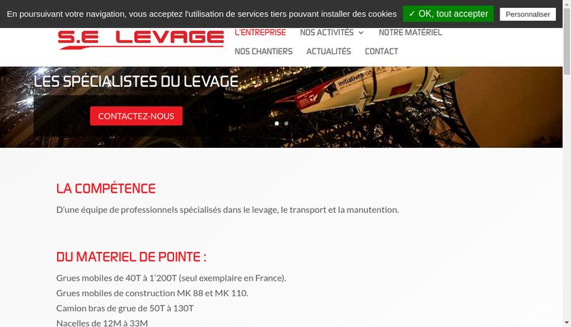 Capture d'écran du site de Se Levage