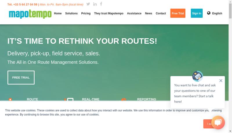 Capture d'écran du site de Mapotempo