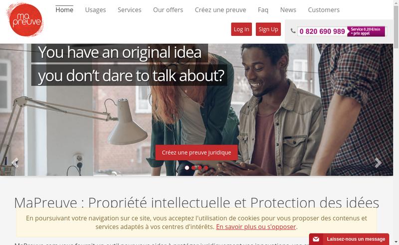 Capture d'écran du site de Mapreuve