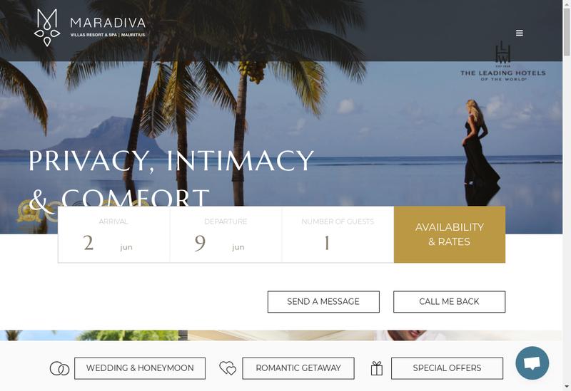 Capture d'écran du site de Maradiva