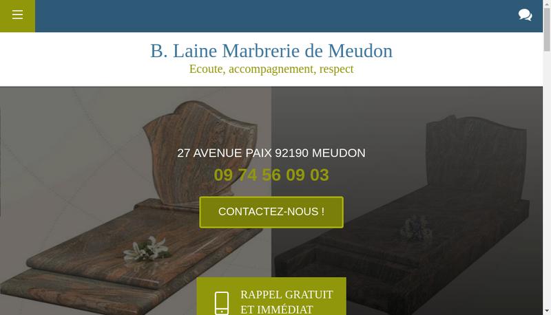 Capture d'écran du site de B Laine Marbrerie de Meudon