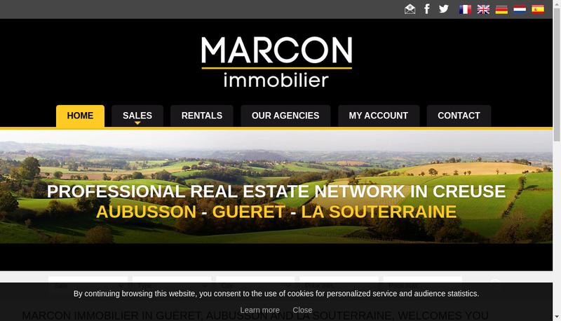 Capture d'écran du site de Marcon Immobilier