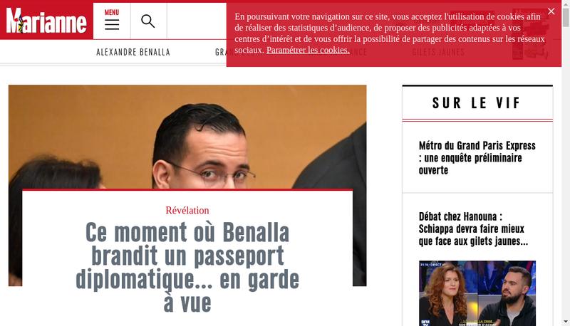 Capture d'écran du site de Marianne