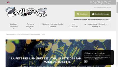 Capture d'écran du site de Marie Antoilette