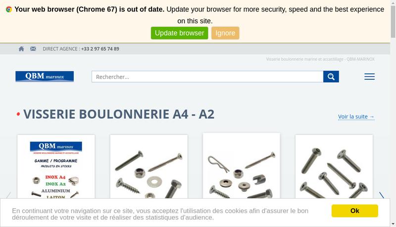 Capture d'écran du site de Qbm Marinox