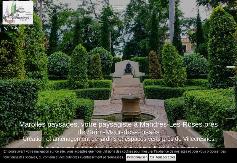 Capture d'écran du site de Marolles Paysages