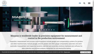 Capture d'écran du site de Marposs
